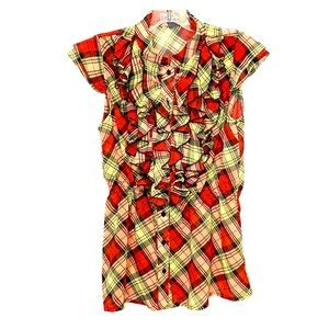 Poetry Ladies Sheer Ruffle Plaid Blouse